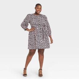 Women's Plus Size Puff 3/4 Sleeve Shirtdress - Who What Wear Pink Polka Dot 2X | Target