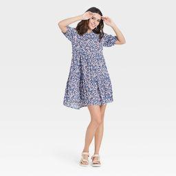 Women's Short Sleeve Babydoll Dress - Knox Rose Purple Floral XXL | Target
