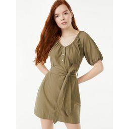 Free Assembly Women's Puff Sleeve Shirtdress | Walmart (US)