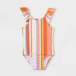 Toddler Girls' Ruffle Striped One Piece Swimsuit - Cat & Jack™ Coral | Target