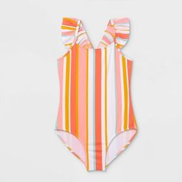 Girls' Striped Ruffle Cabana One Piece Swimsuit - Cat & Jack™ Coral | Target