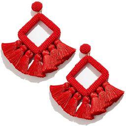 Long Tassel Earrings Statement Bohemian Pom Ball Handmade Drop Dangle Earrings for Women Girls | Amazon (US)
