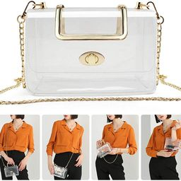 MOETYANG Womens Transparent Clutch Clear Purse Crossbody with Golden Chain Strap PGA Stadium Appr... | Amazon (US)