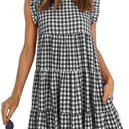 KIRUNDO Women's Summer Dress Sleeveless Ruffle Sleeve Round Neck Mini Dress Solid Color Loose F... | Amazon (US)