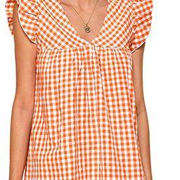 Romwe Women's V Neck Striped Floral Ruffle Embroidery Summer Boho Dress Top | Amazon (US)