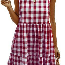 ECOWISH Women Dresses Plaid Sleeveless Summer Casual Sundress A Line Loose Swing T Shirt Mini Dre... | Amazon (US)