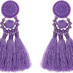 Vesungime Bohemian Statement Thread Tassel Earrings - Chandelier Drop Dangle Cassandra Long Stud ... | Amazon (US)