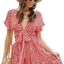 SheIn Women's Deep V-Neck Short Sleeve Tie Front Floral Print Ruffle Hem Dress   Amazon (US)