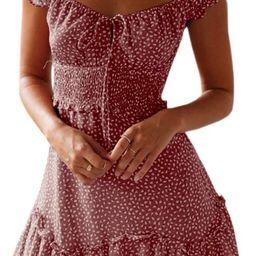 Yobecho Womens Summer Ruffle Sleeve Sweetheart Neckline Printing Dress Mini Dress   Amazon (US)