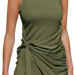 LILLUSORY Women's Summer Casual Sleeveless Tank Dress 2021 Crewneck Bodycon Ruched Tie Waist Mini...   Amazon (US)