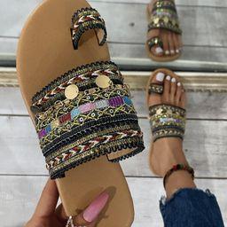 Metal Charm Woven Thong Sandals | SHEIN