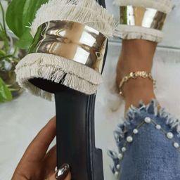 Metal Decor Fringe Design Slide Sandals | SHEIN