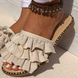 Layered Ruffle Slide Sandals | SHEIN