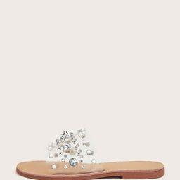 Clear Rhinestone Decor Slide Sandals   SHEIN