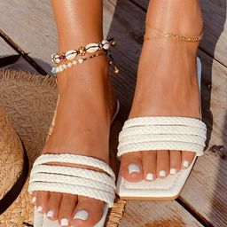 Minimalist Braided Strap Slide Sandals   SHEIN
