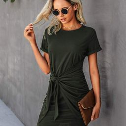 Solid Round Neck Self Tie Bodycon Dress | SHEIN