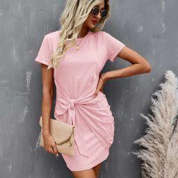 Tie Front Round Neck Dress | SHEIN