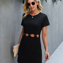 Cut Out Front Solid Tee Dress   SHEIN