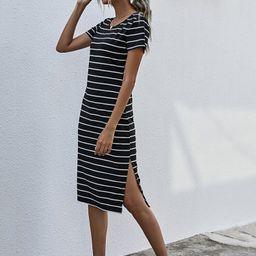 Striped Split Thigh Tee Dress | SHEIN