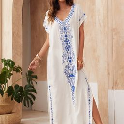 Floral Embroidered Split Side Cover Up | SHEIN