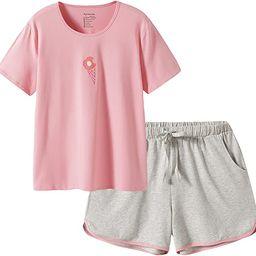 SANQIANG 2 Pcs Women's Sleepwear Lightweight Cotton Spandex Stretchy Short Pajamas Set for Women   Amazon (US)