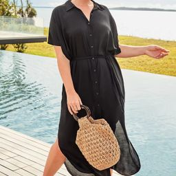 Grace Long Button Front Dress Cover Up   Swimsuitsforall.com
