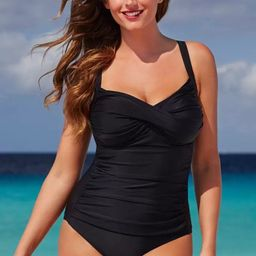 Ruched Twist Front One Piece Swimsuit   Swimsuitsforall.com