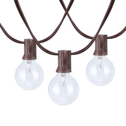 Better Homes & Gardens 110 Volts Electric 18.7 feet 20 Count G40 Clear Glass Globe Bulbs Brown Wi... | Walmart (US)