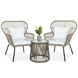 Best Choice Products 3-Piece Patio Wicker Conversation Bistro Set w/ 2 Chairs, Glass Top Side Tab... | Walmart (US)