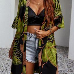 Tropical Print Kimono   SHEIN