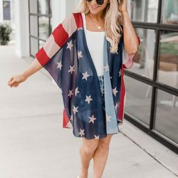 Charmed Lifestyle American Flag Kimono FINAL SALE   The Pink Lily Boutique