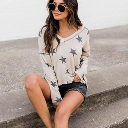 The Stars Above Taupe Blouse   The Pink Lily Boutique
