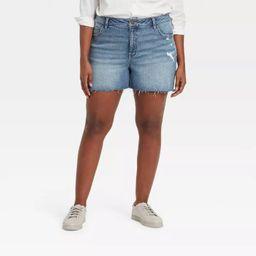 Women's Plus Size Destructed Midi Jean Shorts  - Ava & Viv™   Target