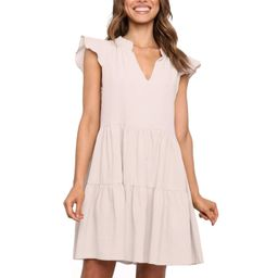 ISZPLUSH Womens Dress V Neckline Boho Short Ruffle Swing Sleeves A Line Above Knee Relaxed Fit Be... | Amazon (US)