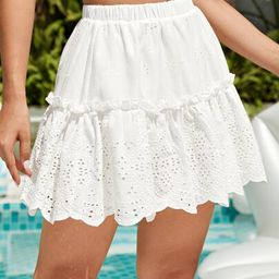 SHEIN Frill Detail Schiffy Skirt   SHEIN