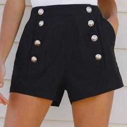 SHEIN High-Rise Buttoned Slant Pocket Shorts | SHEIN
