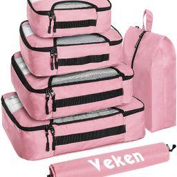 Veken 6 Set Packing Cubes, Travel Luggage Organizers with Laundry Bag & Shoe Bag (Pink) | Amazon (US)