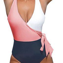 CUPSHE Women's One Piece Swimsuit Wrap Color Block Bowknot Bathing Suit | Amazon (US)