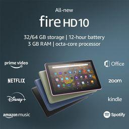 "All-new Fire HD 10 tablet, 10.1"", 1080p Full HD, 32 GB, latest model (2021 release), Black | Amazon (US)"