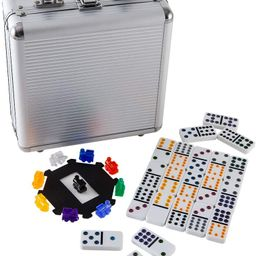 Double 12 Colored Dot Dominoes Mexican Train Game Set, 91 Tiles Dot Dominoes with Aluminum Case-H... | Amazon (US)