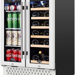 Wine and Beverage Refrigerator 24 Inch, Dual Zone Wine Beverage Cooler with Memory Temperature Co... | Amazon (US)