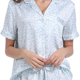 Serenedelicacy Women's Satin Pajama Set 2-Piece Sleepwear Loungewear Button Down Short Sleeve PJ ... | Amazon (US)