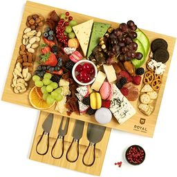 Unique Bamboo Cheese Board, Charcuterie Platter & Serving Tray Including 4 Stainless Steel Knife ... | Amazon (US)