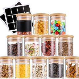Lawei 12 Pack Glass Spice Jars with Bamboo Lids - 4 Oz Glass Spice Bottles Mini Glass Food Storag... | Amazon (US)