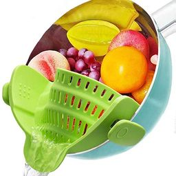 Silicone Clip on Strainer, Patented Clip on Silicone Colander, Clip-on Kitchen Food Strainer for ... | Amazon (US)