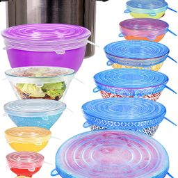 longzon Silicone Stretch Lids 14 Pack Include 2Pcs XXL Size up to 9.8'' Diameter, Reusable Durabl... | Amazon (US)