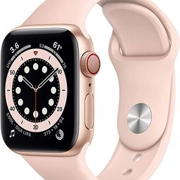 New AppleWatch Series 6 (GPS + Cellular, 40mm) - Gold Aluminum Case with Pink Sand Sport Band | Amazon (US)