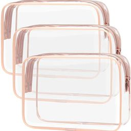Clear Toiletry Bag, Packism 3 Pack TSA Approved Toiletry Bag Quart Size Bag, Travel Makeup Cosmet... | Amazon (US)