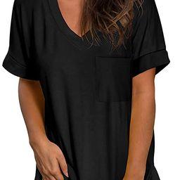 SAMPEEL Women's V Neck T Shirts Short Sleeve Summer Tops with Pocket | Amazon (US)