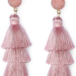 Me&Hz Colorful Layered Tassel Earrings Bohemian Tiered Tassel Druzy Stud Dangle Drop Earrings for...   Amazon (US)